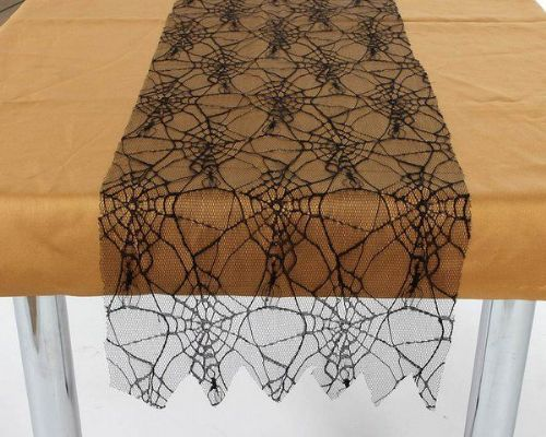 Tablerunner Spiderweb Black Halloween Trick Or Treat Spooky